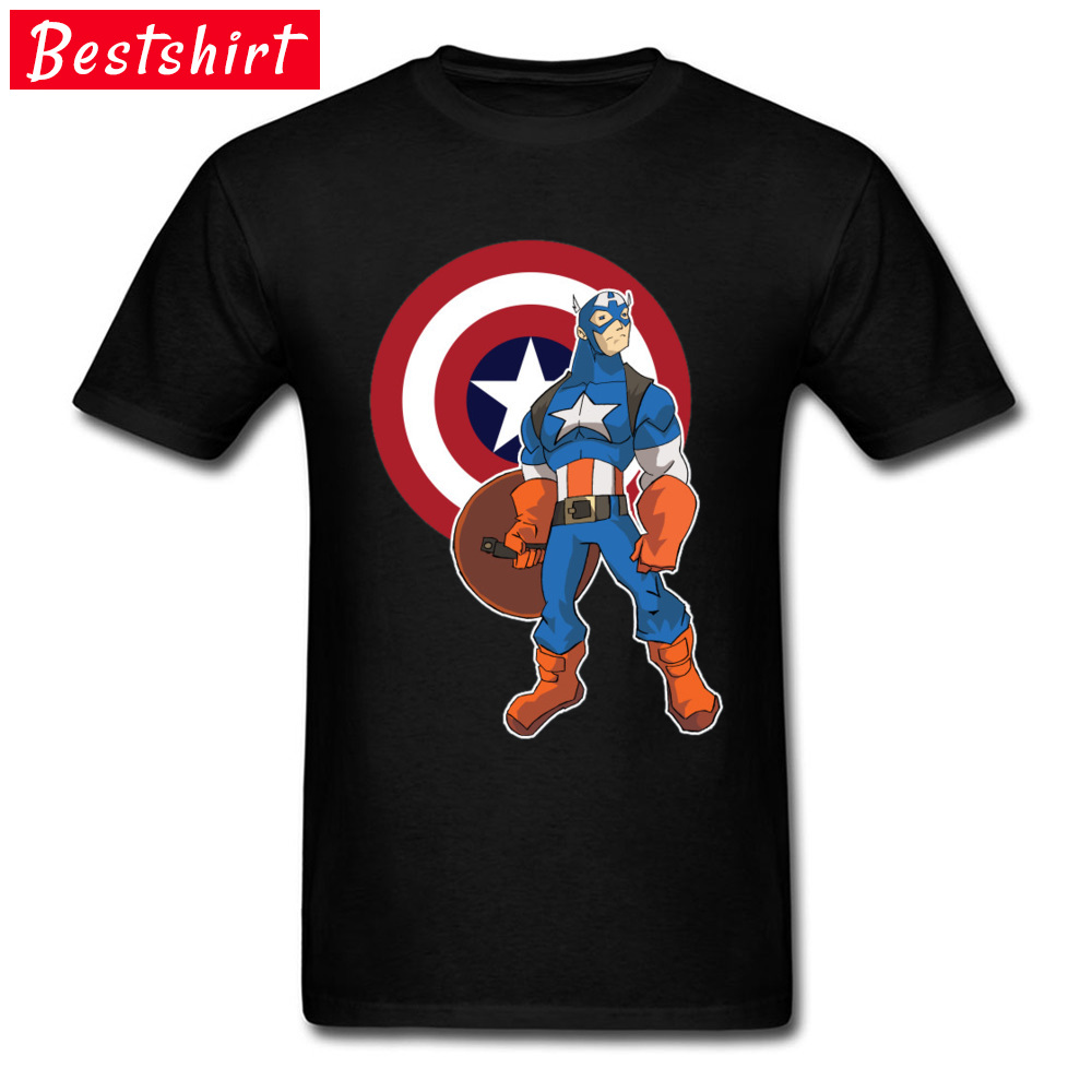 Captain America Marvel Comic Tshirts Mens 100% Cotton Lovers Day Avengers Infinirty War Captain Tops T Shirts Man Cool Fashion