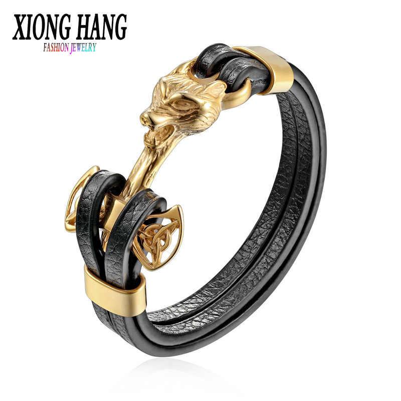 XiongHang 2018 Nieuwe Collectie Rvs Lederen Armbanden Mannen Sieraden Mannelijke Wolf Head Bedels Armbanden Polsbandje pulseira