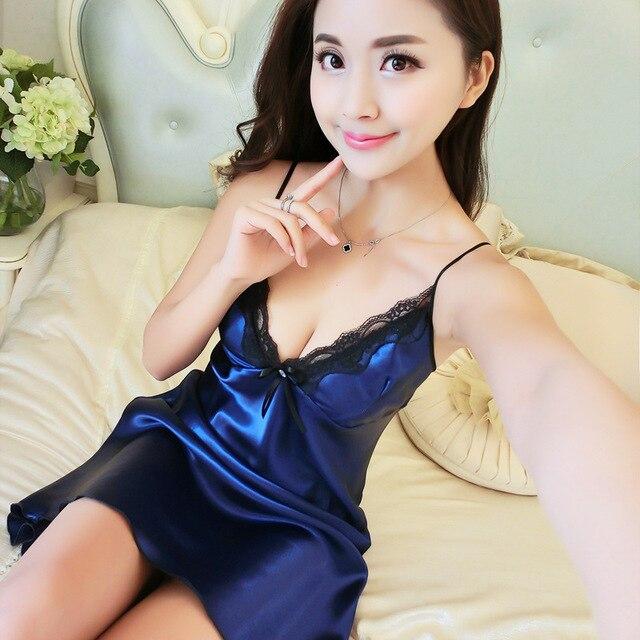BabYoung Women Pyjamas Sexy Silk Satin Night Gown Sleeveless Nightdress  Lace Sleep Dress V-neck Nighties Night Shirt Sleepwear 48e9a20ef