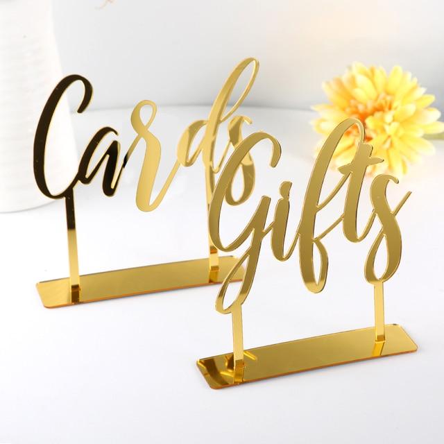 Sinal Mesa de acrílico Cartões e Presentes de casamento Sinal Autônomo Caligrafia Casamento Personalizado Sinais de Corte A Laser Personalizado