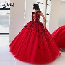 Элегантное красное вечернее платье пачка с 3d цветами пышные