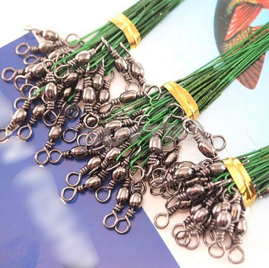 SODIAL R 72pcs Green Fishing Lure Line Trace Wire Leader Swivel Tackle Spinner Shark Spinning 15//20//28cm