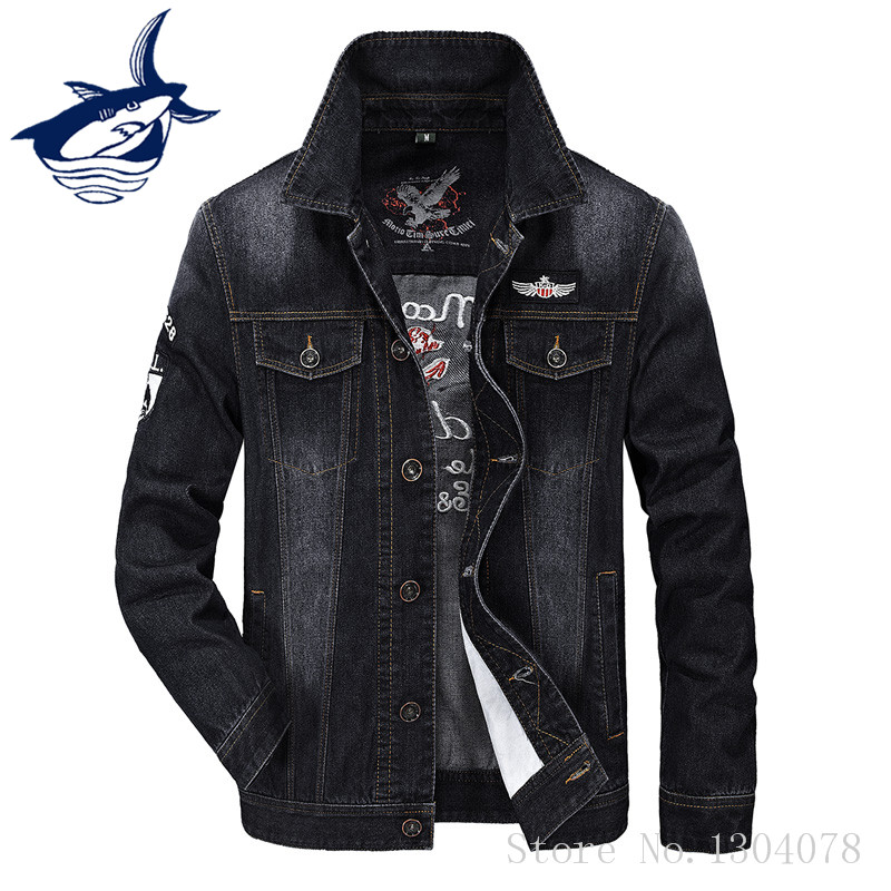 Tace & Shark Fashion Denim Jacket Men Brand Clothing Retro Cowboy Style Letter Embroidery Casual Jeans Jacket Mens Outerwear جدیدترین مدل کاپشن پسرانه