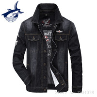 Tace Shark Fashion Denim Jacket Men Brand Clothing Retro Cowboy Style Letter Embroidery Casual Jeans Jacket