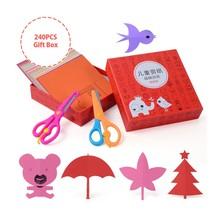 140PCS Gift Box Two scissors Kids cartoon color paper folding and cutting toys/children DIY educational toys kingergarden art