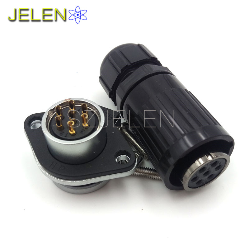HE20, Waterproof and dustproof 7 pin connectors, LED high power plug socket, connector cable, 7 pin plug connector(female) jelen hp20 series 7 pin industrial connectors plug socket aviation connector power charger male and female connectors 7 pin