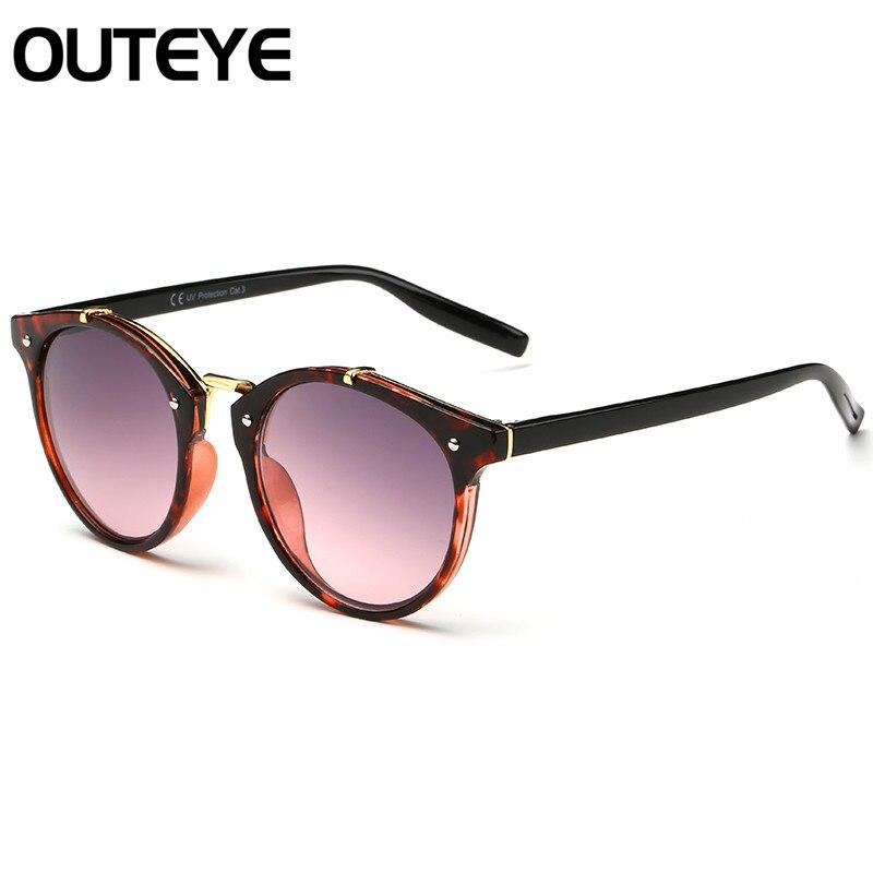 ed8f2f32aaa32 OUTEYE Avião Rodada Óculos De Sol Das Mulheres Quadro Gradiente Óculos de  Sol Dos Homens Óculos de Óculos Da Moda Óculos Escuros de Grife Retro Femme  15