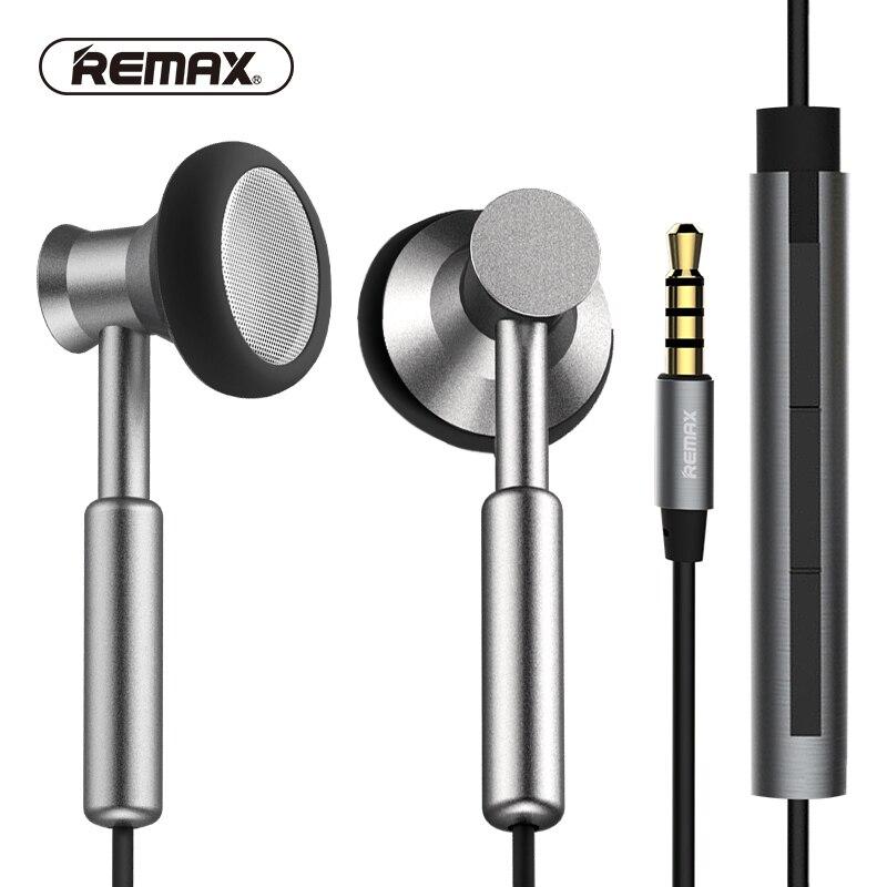 REMAX Klar Metall In-ear-ohrhörer mit HD Mikrofon geräuschisolation Schwere Bass Ohrhörer Geflochten Kabel Flach für telefon/huawei/xiaomi