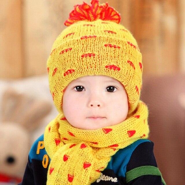 7b76b7373348 Toddler Hat Scarf For Children Winter Baby Girl Boy Warm Caps Cute ...