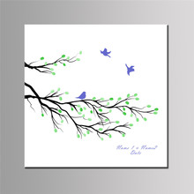 Blue Birds Branches Printed Square Canvas Fingerprint Graduation Guestbook Mural DIY Customized Attendance Signature Art Poster(China)