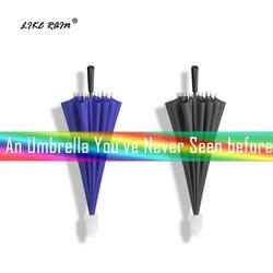 Как дождь Творческий длинная ручка Радужный зонт для гольфа дождь для женщин большой Ветрозащитный зонтик с водостойким крышка UBY51