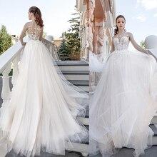 Verngo A-line Wedding Dress Appliques Lace Tull Gowns Elegant Bride Robe De Mariee Vestidos Novia 2019