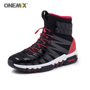 Image 2 - ONEMIX çizmeler erkekler için koşu ayakkabıları yüksek Top Trekking spor ayakkabılar çapraz spor açık koşu Sneakers rahat yürüyüş