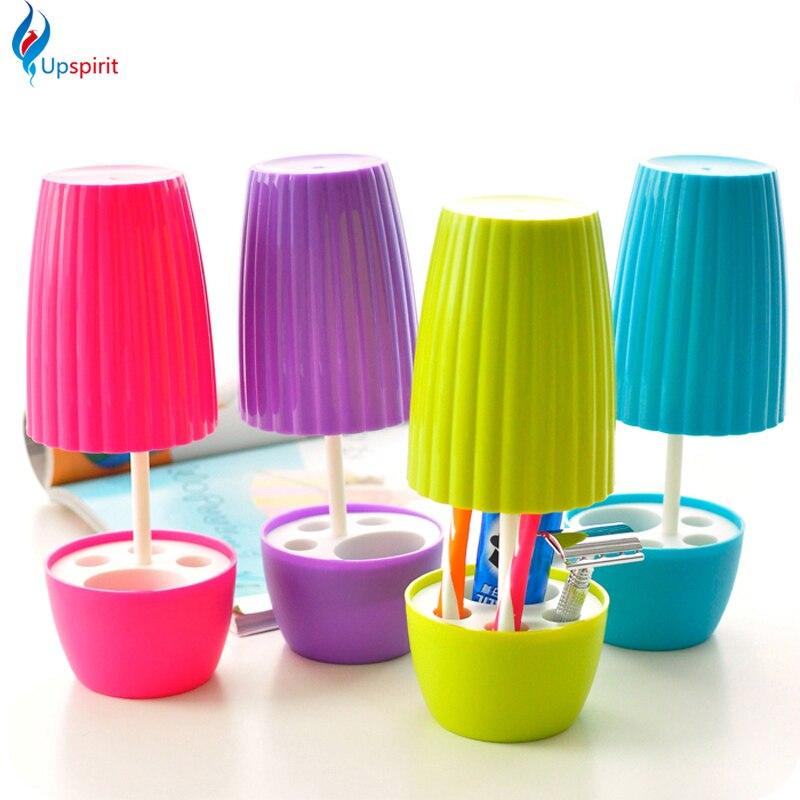 nuova casa bagno imposta ventosa spazzolino titolare cremagliera lampada da tavolo forma tazza spazzolino dentifricio holder