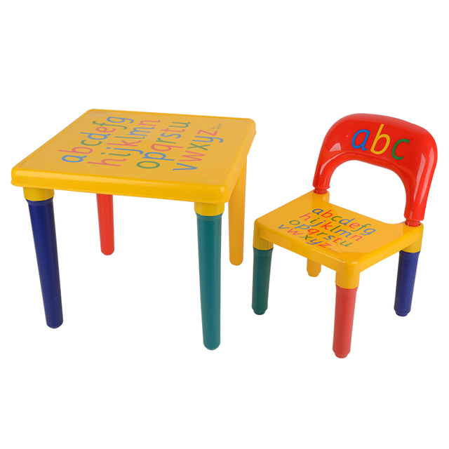 Shellhard Plastic ABC Alphabet Table Chair Set Children Toddlers Learn Play table chair set Home Furniture Decoration
