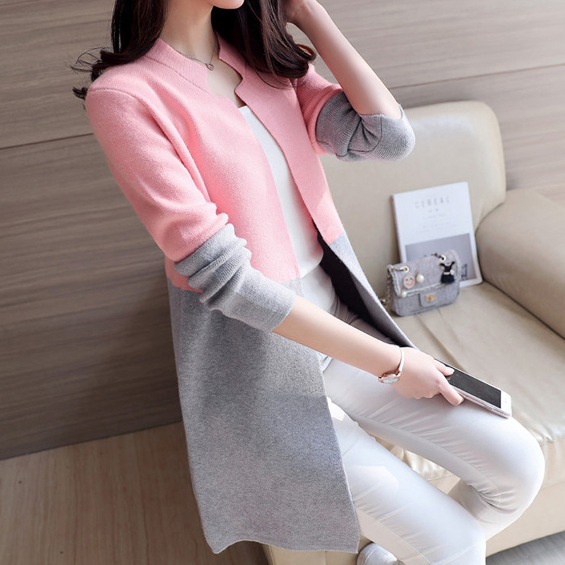 2018 Autumn Knitting Loose Fashion Women's Cardigans Patchwork Long Sleeve Simple Style Female Sweaters Korea Style Coats