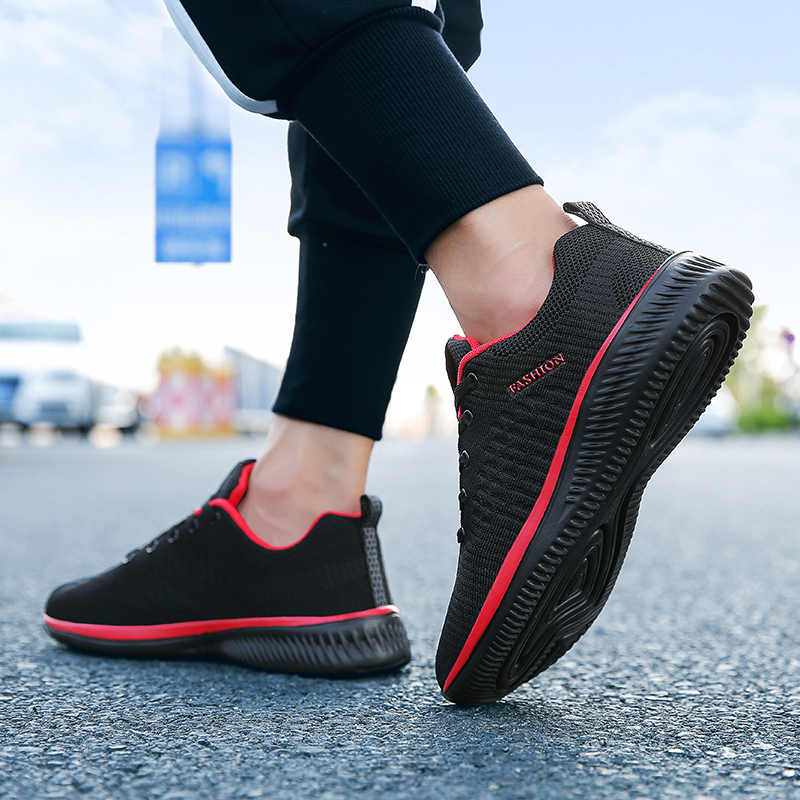 Мужские повседневные сетчатые кроссовки, черные легкие удобные сникеры, пропускающие воздух, на шнуровке, спортивная обувь для ходьбы, тенниса, на весну 2019