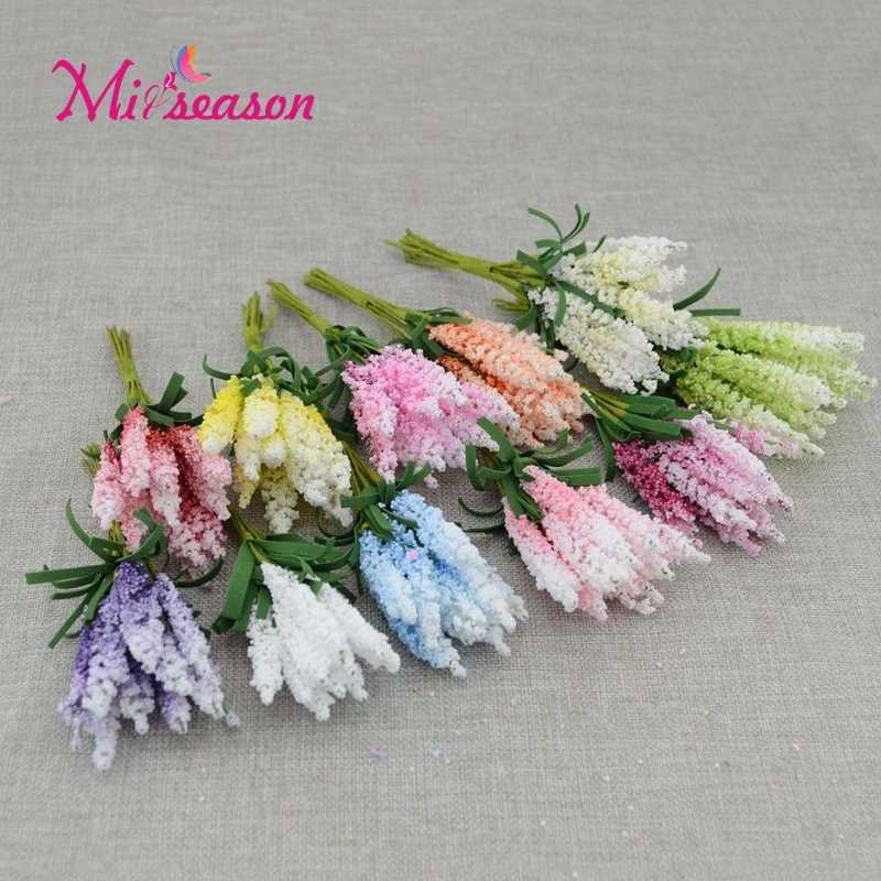 New 10pcs Mini Artificial Flowers PE lavender DIY Wreath Material Wedding Flower Decor Bride Wrist Flower Gift Box Scrapbooking