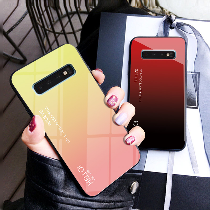 Gradient Tempered Glass Phone Case For Samsung Galaxy S10 Lite S8 S9 Plus S7 edge Colorful Cover For Samsung Note 8 9 M20 Case-in Fitted Cases from Cellphones & Telecommunications