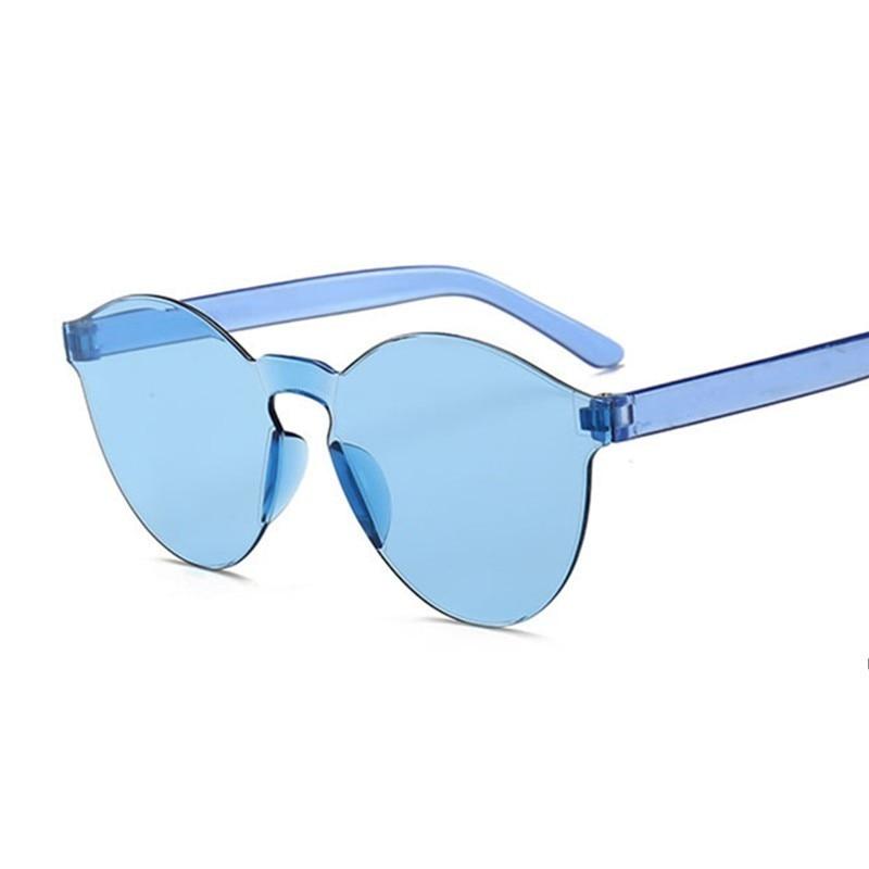 Summer Round Sunglasses Women Brand Designer Transparent Shades Blue Sun Glasses Cool Color UV400 Oculos De Sol Gafas