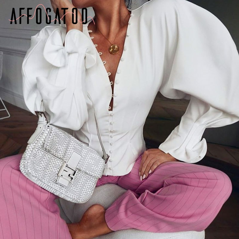 Affogatoo Vintage v neck white   blouse   women 2018 Autumn winter long sleeve   blouse     shirt   Casual chic victorian   blouse   top female