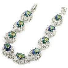 Ослепительная огненная радуга Мистический топаз, подарок CZ Woman 925 Silver Bracelet 7.0-7.5 inch 15X11mm