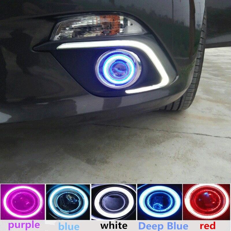 Автомобильные светодиодные DRL + COB angel eye + объектив проектора + галогенная противотуманная фара для mazda 3 axela 2014 дневные ходовые огни 2 шт