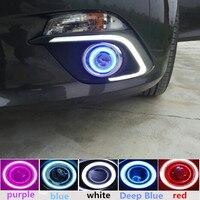 Car Led DRL COB Angel Eye Projector Lens Halogen Fog Lamp For Mazda 3 Axela 2014