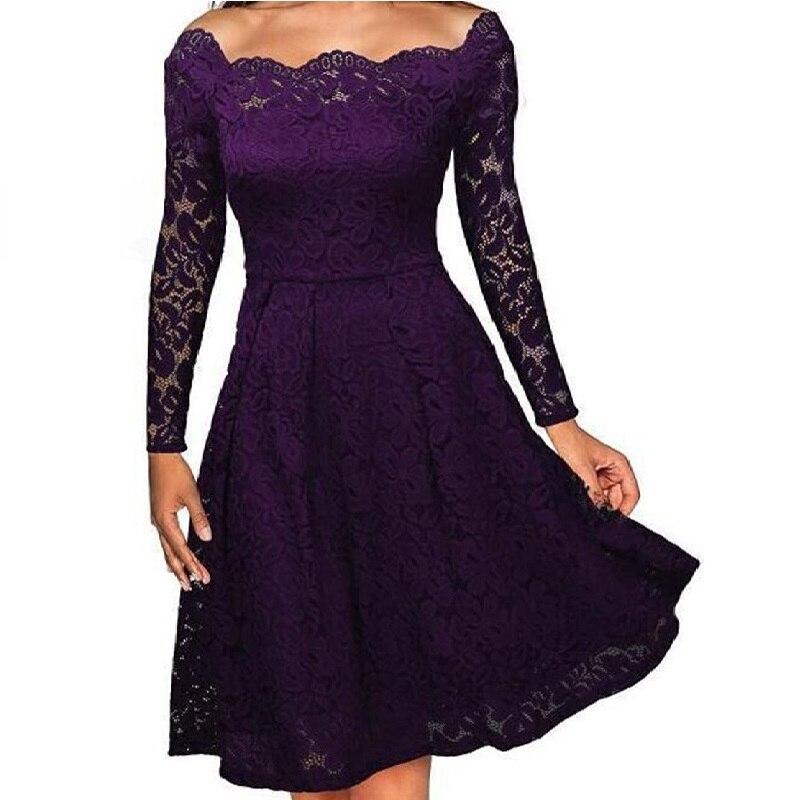 Новое летнее осеннее женское платье, плюс размер, модное платье с вырезом лодочкой, с открытыми плечами, с большим подолом, с длинным/коротки