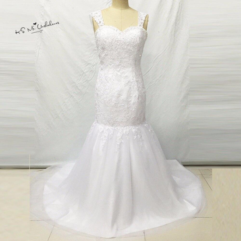 Sexy White Lace Mermaid Abiti Da Sposa 2017 Vestido de Noiva Sereia Donne  Vestito Da Sposa Backless Abiti Da Sposa Casamento Mariage 26e6242ed486