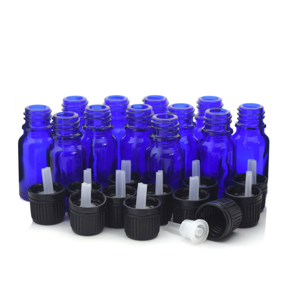 12pcs 1/3 Oz 10ml Cobalt blue Glass bottles w/ euro dropper orifice reducer tamper evident cap for essential oils aromatherapy