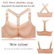 Smooth front button bra Fat mm, thin type and fat increase Ring-free bra with beautiful back plus size bra women underwear women цена
