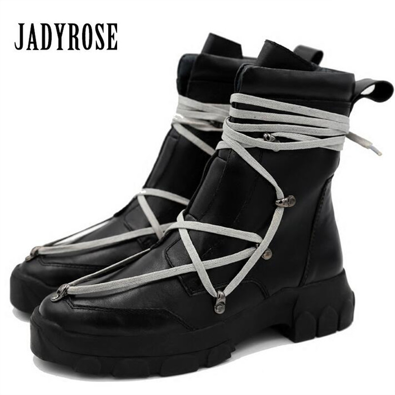 Jady Rose Handmade Genuine Leather Women Ankle Boots Black Thick Heel Platform Rubber Flat Booties Lace Up Martin Boot Creepers jady rose vintage black women knee high boots lace up side zip platform high boots thick heel flat martin boot for autumn winter