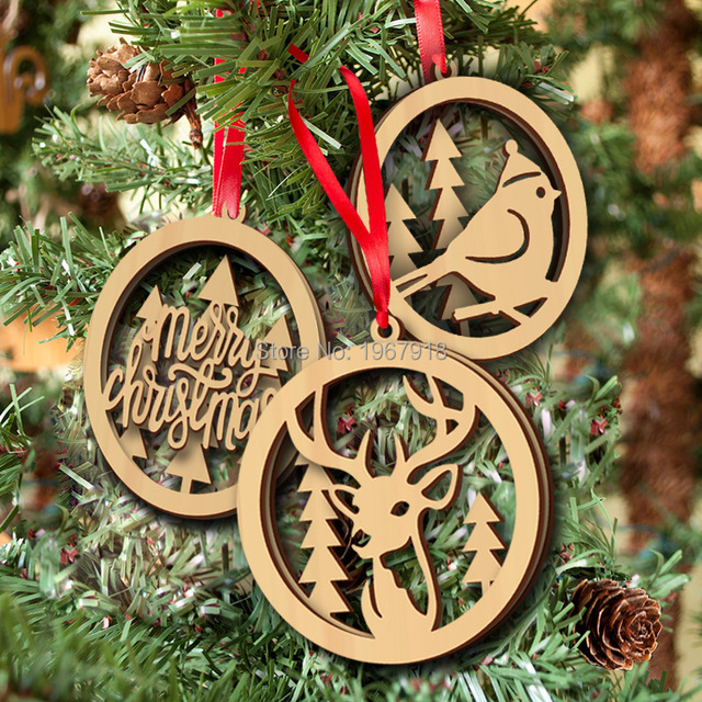 free shipping wooden christmas tree hanging ornaments merry chirstams gifts natural wood pendants xmas tree decorations