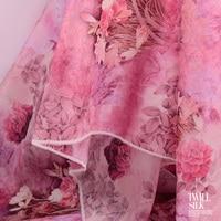 Pink 12 momme Silk organza satin fabric spring and summer digital inkjet silk fabric clothing fabric skirt shirt material