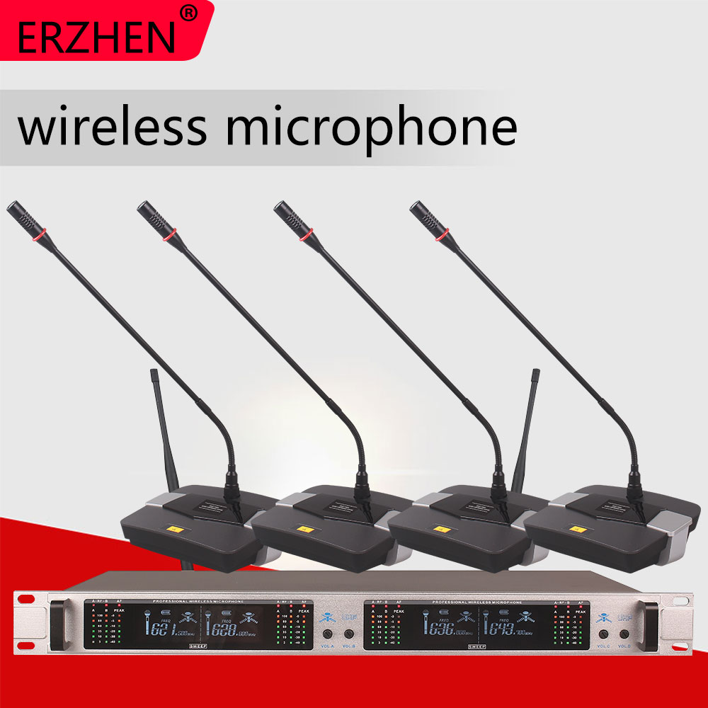 Wireless Microphone System 403GT Professional 4 Channel UHF Dynamic Conference Gooseneck Desktop
