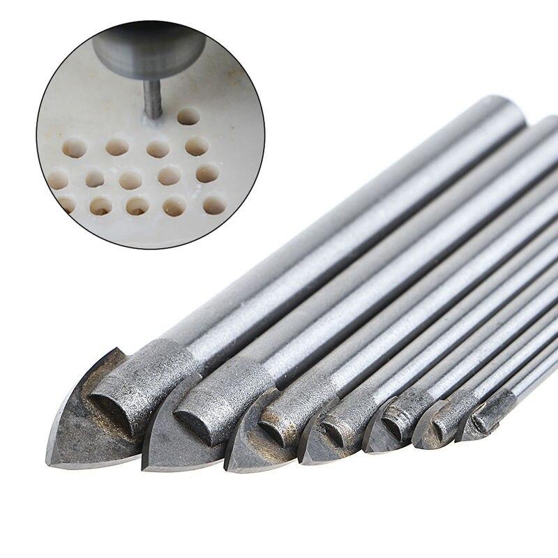 7 Pcs 3/4/5/6/8/10/12mm Triangle Tip Glass Drill Set Tile Cermic Drill Bit