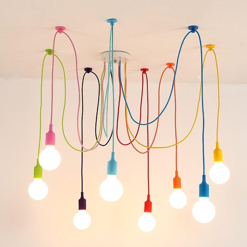 Colorful Pendant Light Indoor Dining Room Living Room Decoration Lighting Lamp Children's Room Pendant Lamp Silica Gel Material
