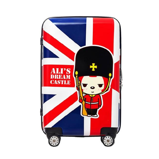 YISHIDUN Union Jack Cartoons men suitcase bags abs vintage Waterproof shockproof women trolley case, travel luggage bag maletas