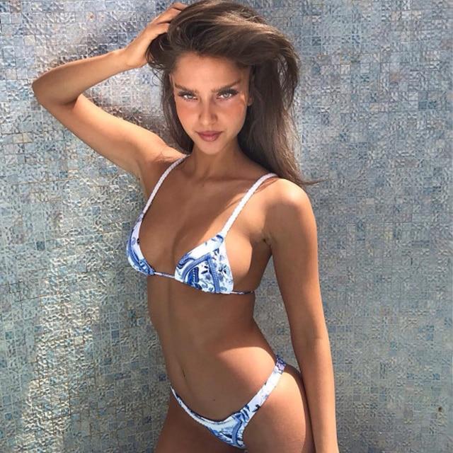 Bikinis Set Bikini 2018 Swimwear Women Microkini Blue White Porcelain Bathing Swimming Suit Beachwear Cute Sexy