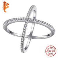 236906399 Authentic Sterling Silver 925 Cross X Cross Rings Crystal Rings For Women  Jewelry Wedding Engagement Gift