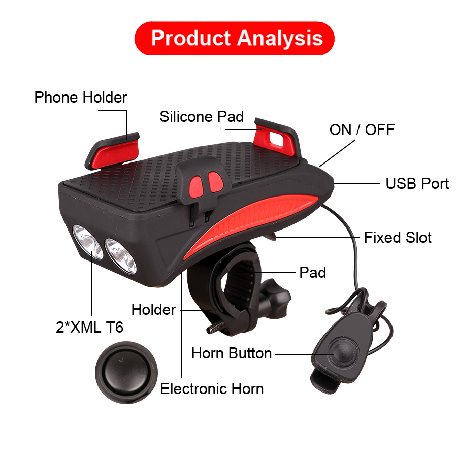 Perfect NEWBOLER 4 in 1 Bicycle Light Power Bank 4000mAh Flashlight Bike Horn Alarm Bell Phone Holder Bike Accessories Cycle Front Light 4