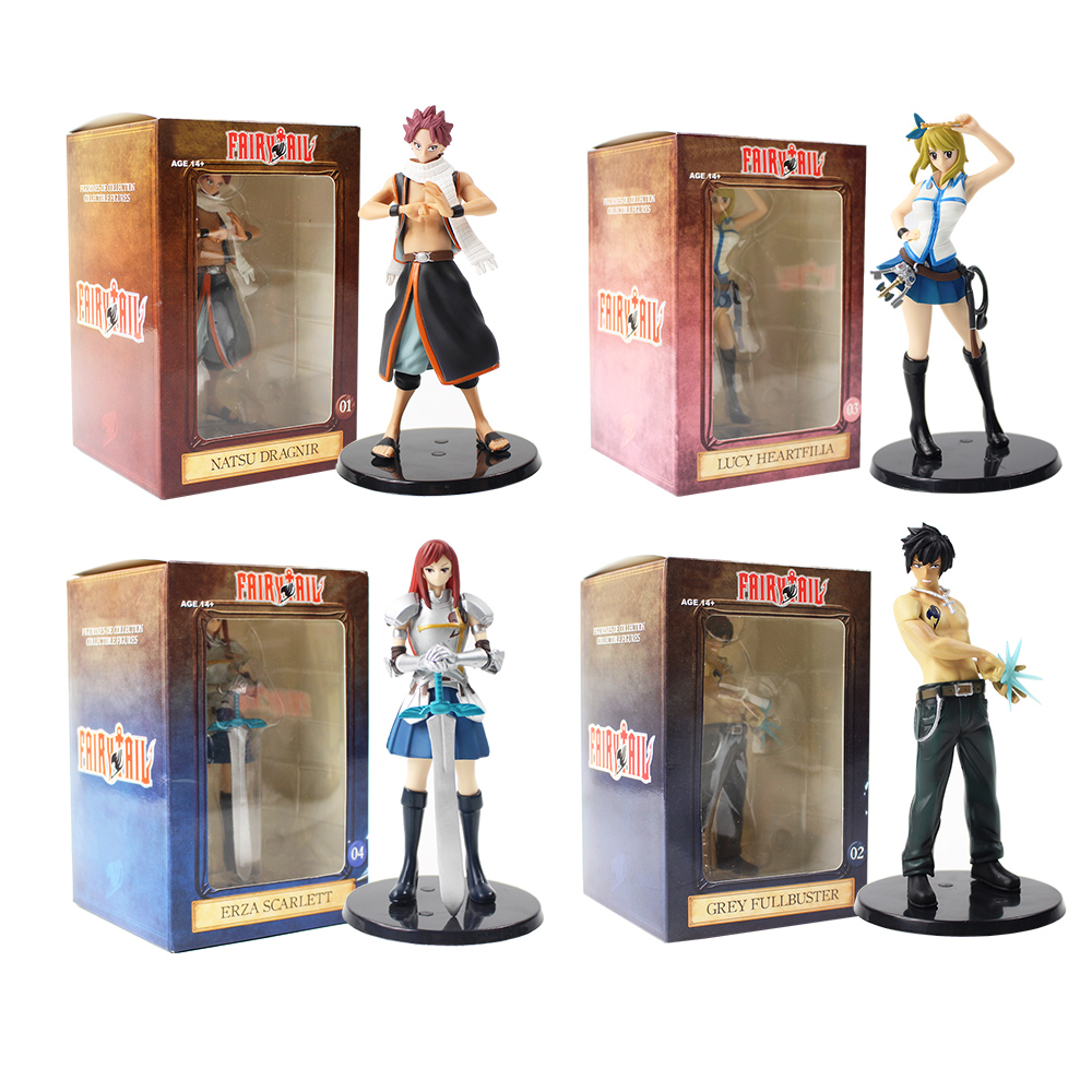 4pcs/lot Fairy Tail Figures Lucy Heartfilia Natsu Dragneel Gray Grey Erza Scarlet Anime Collectible Model Toys