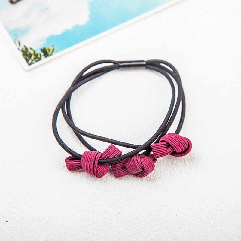 Cloth Pink Purple Brown Blue Red Bowknot Three-layer Hair Clips & Pins Headwear Hair Accessories for Women