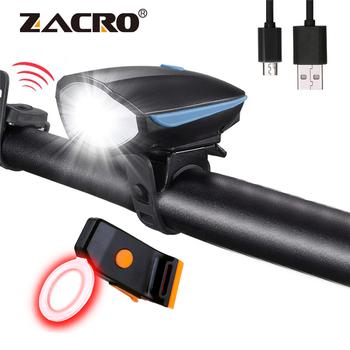 Zacro USB światło rowerowe 5 trybów Ultra jasny ogon tylne światła i 3 tryby rowerowe przednie światła rowerowe z 120db dzwonek z klaksonem tanie i dobre opinie bicycle light Kierownica
