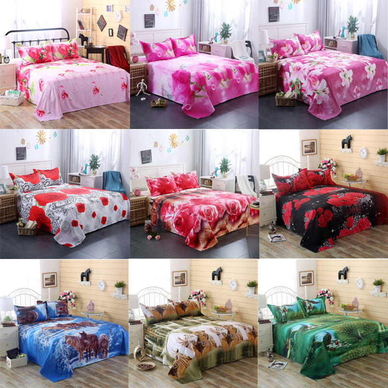 3D Bedding Sheet Pillow Case Cover Set Flower Rose Lily Peacock Animal For Single Double Twin King Bed Home Textile Hot Sale