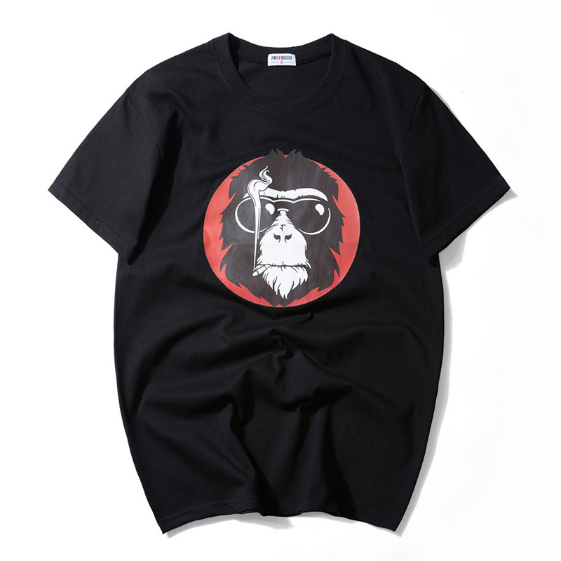2017 Fashion Monkey with Sunglass Printed Men T-shirt Short Sleeve Funny T Shirts for Man Hipster O-neck Cool Top Tshirt 7XL 6