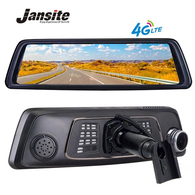 Jansite 10 Full Touch IPS 4G Android GPS Espelho dvr carro FHD 1080 P lente Dupla Do Carro DVR espelho retrovisor de veículo automóvel câmera ADAS BT WIFI