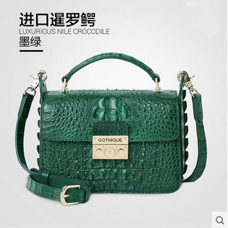 gete The new 2016 real crocodile wome handbag inclined female single shoulder bag crocodile leather bag