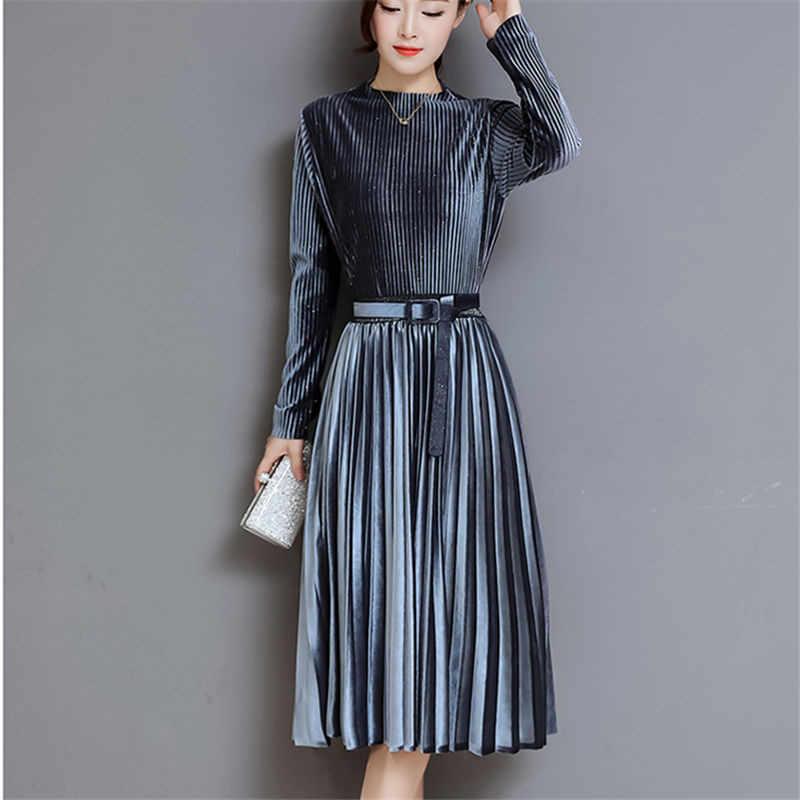 797463810034 Fashion Autumn Winter Women Dress Elegant Sexy Pleate Female Dress Vintage  Long Sleeve Velvet Two-